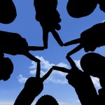 Social network made of many hands in a group